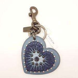 NWT COACH Heart Applique Bag Charm Blue Glitter 🌵